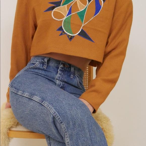 Vintage Sweaters - Vintage 80s Abstract Mock Neck Longsleeve Crop Top